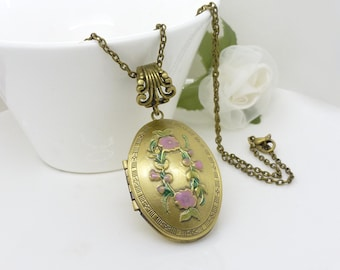 Lilac purple flower locket, Hand painted locket, oval antique bronze lavender purple locket with green, floral jewelry