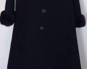 1960's coat, black wool mink trimmed winter coat