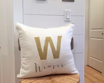 Pillow,Decorative Pillow,Initial Pillow,Custom Pillow,Holiday Pillow,Monogram Pillow,Monogrammed Pillow,Farmhouse Pillow,French Pillow,Gold