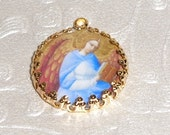 Vintage blue angel with book art print image charm cabochon diy jewelry making