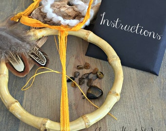 Natural Bamboo Dream catcher kits , heart tiger eye gemstone