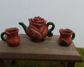 Flower Petal Clay Tea Set For Fairy Garden or Dollhouse Miniature Food Enjoyment