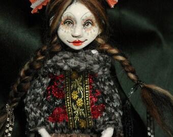 art doll, ooak, brown braids