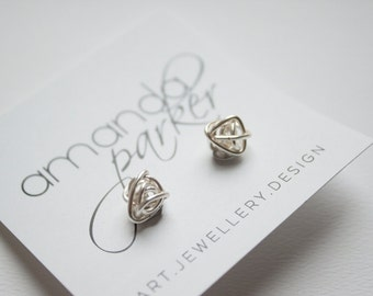Sterling Silver Wrapped Wire Knot Stud Earrings - Hand Formed Sterling Silver Wire Studs - Everyday Statement Earrings
