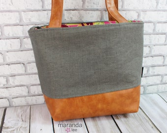 Lulu Medium Tote  Bag - Charcoal Linen and PU Leather - Purse Shoulder Straps 3 pockets Handbag Washable
