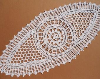"Oval crochet doily, white lace doilies, crochet centerpiece, crochet table runner, 23""x 10"""