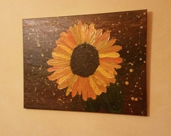 Turn Your Face to the Son Number One Sunflower Original Painting, Acrylic, Impasto