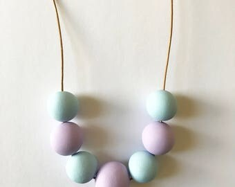 Pastel Statement Necklace Purple Blue