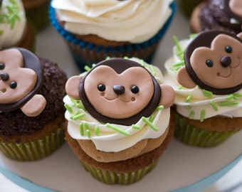 12 Brown Monkey Birthday Cupcake Topper- Edible