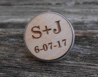 Custom Wedding Tie Tack. Lapel Pin. Laser Engraved Wood. Wedding, Men, Groom Gift, Anniversary, Birthday.