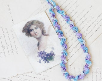 Crochet necklace in shades of blue and purple Spiral beaded jewelry Boho chic Vintage style Gift for her For Mom Spring fashion Summer