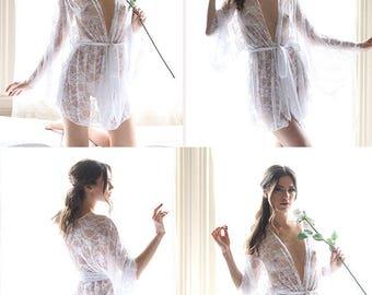 Kimono Robe - sheer lingerie - kimono - see through lingerie - Recherche Clothing - sheer dress - bathrobe - bridal robe lace - robe - sheer