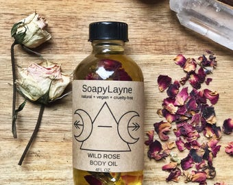 BODY OIL, wild rose body oil, 4oz. massage oil, vegan + cruelty free