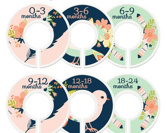 Closet Dividers, Baby Closet Dividers, Toddler, Days of Week, Closet Organizer, Pink Mint Flowers, Baby Shower Gift, Pink Gold Nursery Decor