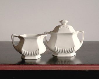 Antique English Ironstone, cream and sugar set, As is