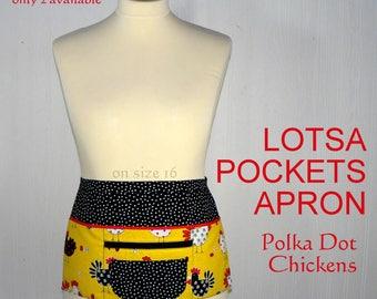 Lotsa Pockets Apron, Vendor Apron with zipper pocket, Teacher- Waitress- Farmer's Market - Polka Dot Chickens, LIMITED EDITION ready to ship