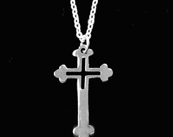 Silver Cross Necklace 18KGF Vintage Mint Condition
