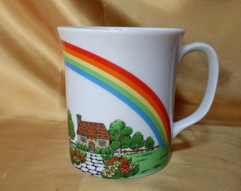 Mug with Rainbow over a Cottage Cup Coffee *eb