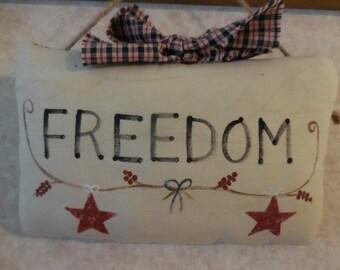 Primitive Patriotic Pillow Tuck FREEDOM Folk Art Wall Hanging Sign Americana Stars