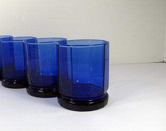 Vintage COBALT ROCKS GLASSES Set/3 Barware Sapphire Blue Glass Essex Anchor Hocking