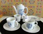 Child's Tea Set, Made in Japan, Blue and White, Floral Design, Child's Collectible, Girls Tea Party, Pretend Play, Toy