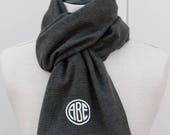 Personalized Mens Scarf, Monogram Flannel Scarf -Charcoal/Black Mini Houndstooth, Gift for Him