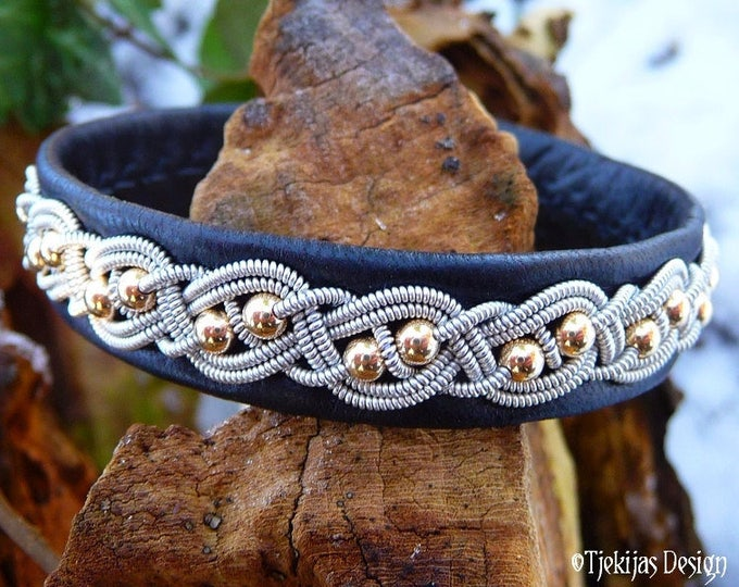 Sami Bracelet BIFROST Viking Black Reindeer Leather Cuff with 14K Gold Filled Beads, Pewter Braid and Antler Closure - Custom Handmade