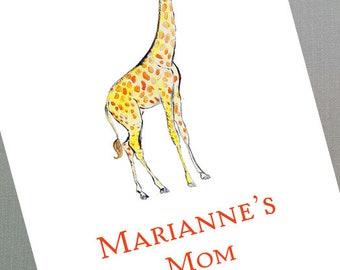 Playdate Card, Mom Card with Giraffe, Set of 50