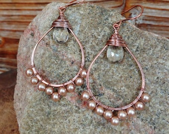 Forever. Artisan Copper Earrings with Wire Wrapped Glass Blush Pearls and Clear Crystal Quartz Gemstones-Boho Gypsy Wedding Gift Vintage Art