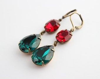 Swarovski Siam earrings, Red earrings, double earrings, Swarovski earrings, emerald earrings, Christmas earrings,red and green earrings RG1