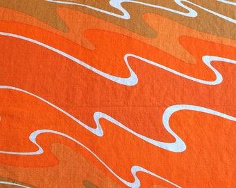Vintage Vera Orange Wave Tablecloth Linen Washable, Mod Design, Mid Century Modern, Danish Modern