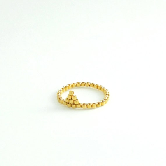 Triangle Gold Ring, Midi Ring, Stacking Gold Ring, Gold Beaded Ring, Gold Skinny Ring, Minimalist, 24k Gold Ring, Modern, Simple, Romantic