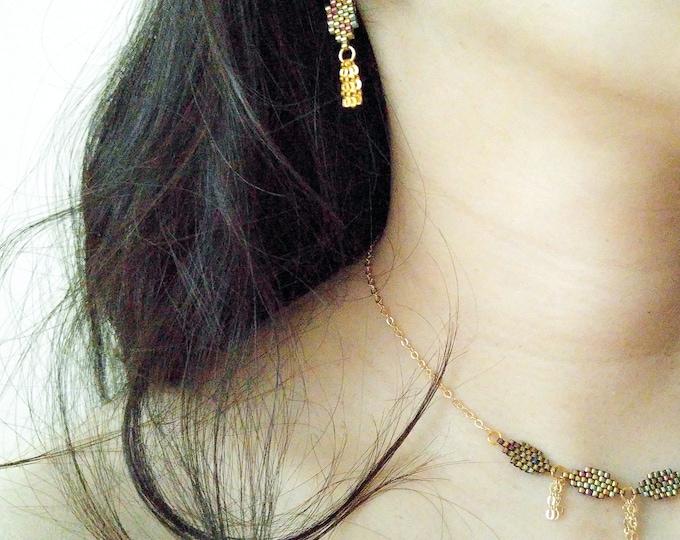 Gold Leaf Earrings, Gold Tassel Earrings, Bohemian Gold Earrings, Beaded Gold Earrings, Dangle Gold Earrings, Dainty Earrings,
