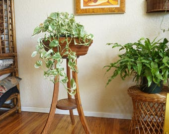 Vintage Hexagon Shaped Wooden Plant Stand
