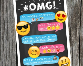 Emoji Birthday Party Invitation- Digital
