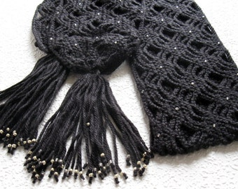 Black Beaded Scarf.   Light weight open weave crochet scarf with silver color beads.
