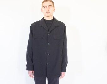 90s Minimal Black Light Weight Shirt Jacket