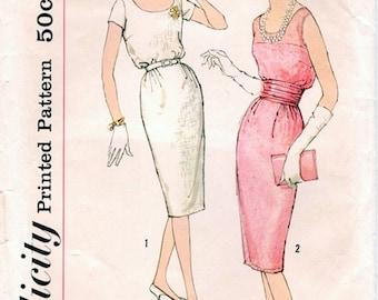 Chic Vintage 1950s Simplicity 2963 Slim Cocktail or Day Dress  and Cummerbund Sewing Pattern B32