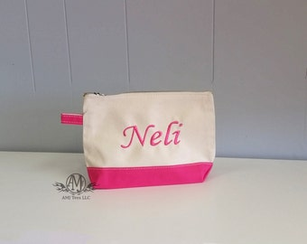 Personalized Canvas Make up bag, Monogram cosmetic bag, Personalized Cosmetic Bag, womens gift, mother's day gift, Bridesmaid gift,