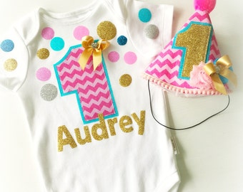 Colorful Fun Confetti 1st Birthday Girls Party Outfit First Birthday Clothing