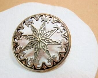 Snow Flake Pierced Brass Button, 28mm, Silver-tone Cut Away Metal Button, Vintage