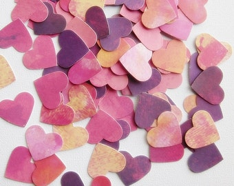 Heart Confetti  - Variegated Pink, Maroon, and Yellow - Scrapbook Embellishment, Table Decoration, Card Making, Tag Making