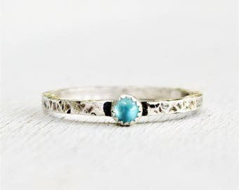 Size 5.75 - Sky Blue Topaz and Sterling Silver Ring - Gem - Solitaire - Round Gemstone - Birthstone  - Ready to Ship - December