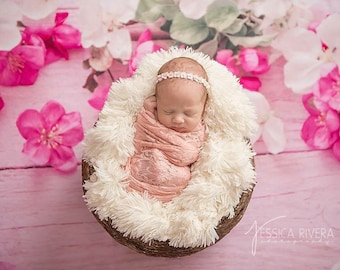 Dusty Pink Tea Rose Stretch Lace Swaddle Wrap AND/OR Sequin Flower Headband, newborn photo shoots, baby swaddle, by Lil Miss Sweet Pea