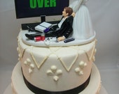 GAME OVER (or ANY game/image) Funny Wedding Cake Topper Custom Video Game Gaming Junkie Addict Rehearsal Gamer Groom's Bride Veil New PS4