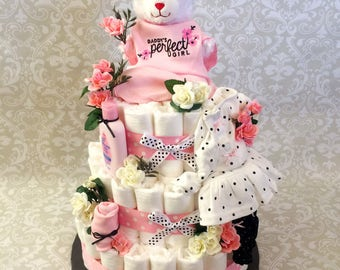 Baby Girl Roses 3 tier Diaper cake - an adorable diaper baby shower gift - made to order