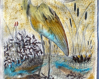 Heron landscape fiber art quilt, new home decor, neutral fiber art, art quilt wallhanging,