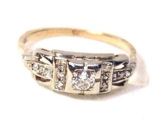 Art Deco Diamond Engagement Ring in 14K White and Yellow Gold, Vintage, 1930's