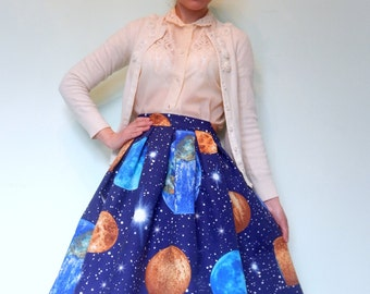 Custom made Galaxy print  pleated full skirt, Made to order,Space high waisted skirt