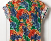 90s Colorful Short Sleeve Button Down - Claiborne - M
